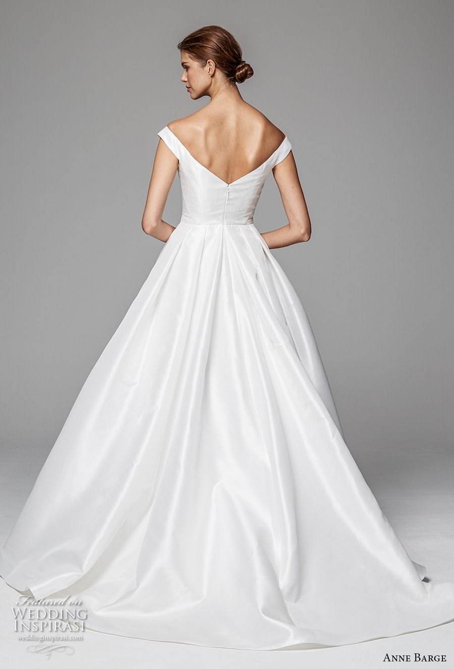 anne barge fall 2018 bridal cap sleeves off the shoulder scoop neckline simple clean elegant a line wedding dress sweep train (3) bv
