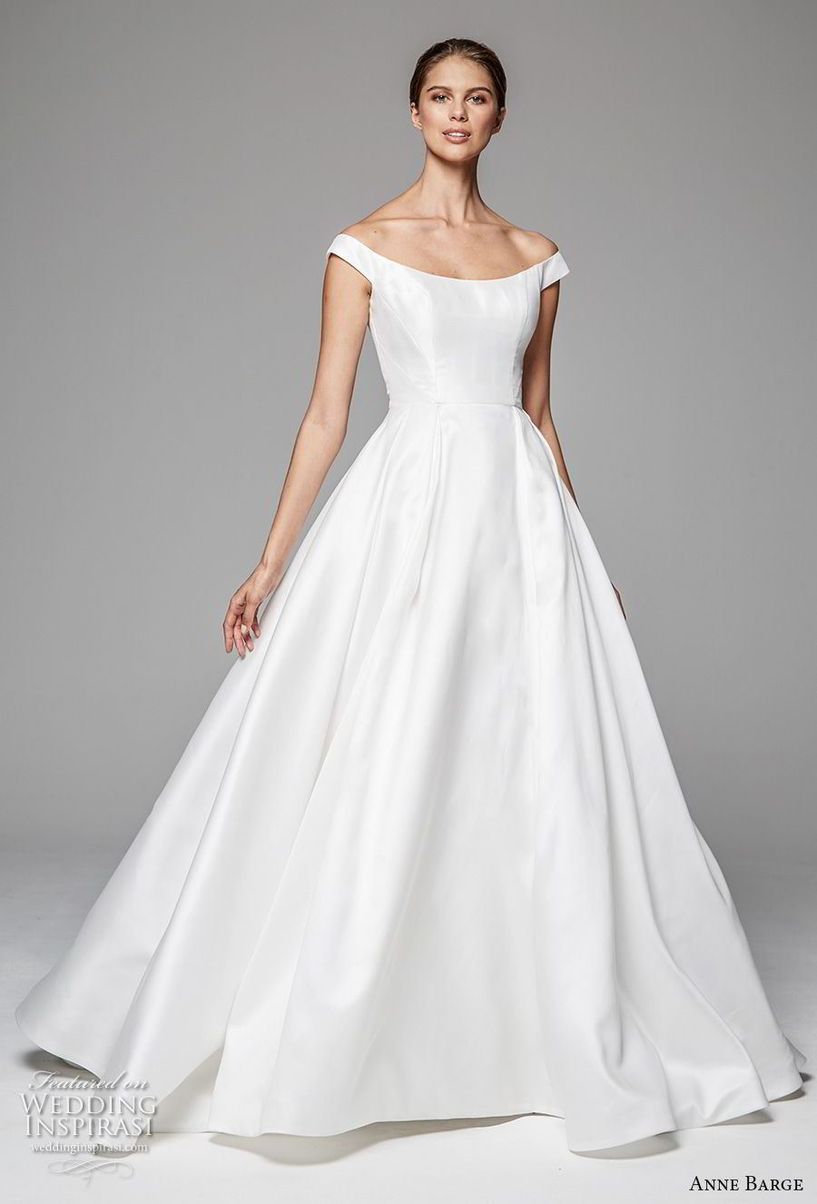 anne barge fall 2018 bridal cap sleeves off the shoulder scoop neckline simple clean elegant a line wedding dress sweep train (3) mv