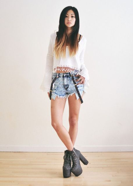 With white crop blouse and gray platform ankle boots