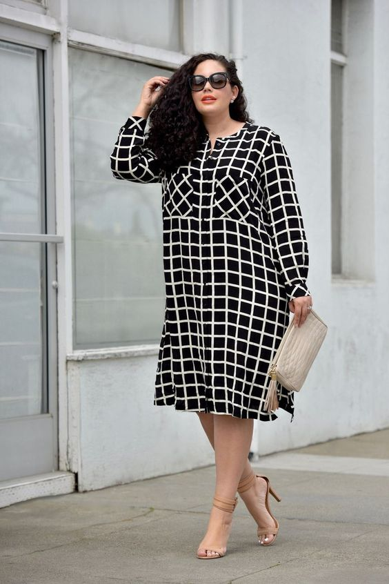 a black and white windowpane dress, nude shoes and a matching clutch are ideal for work
