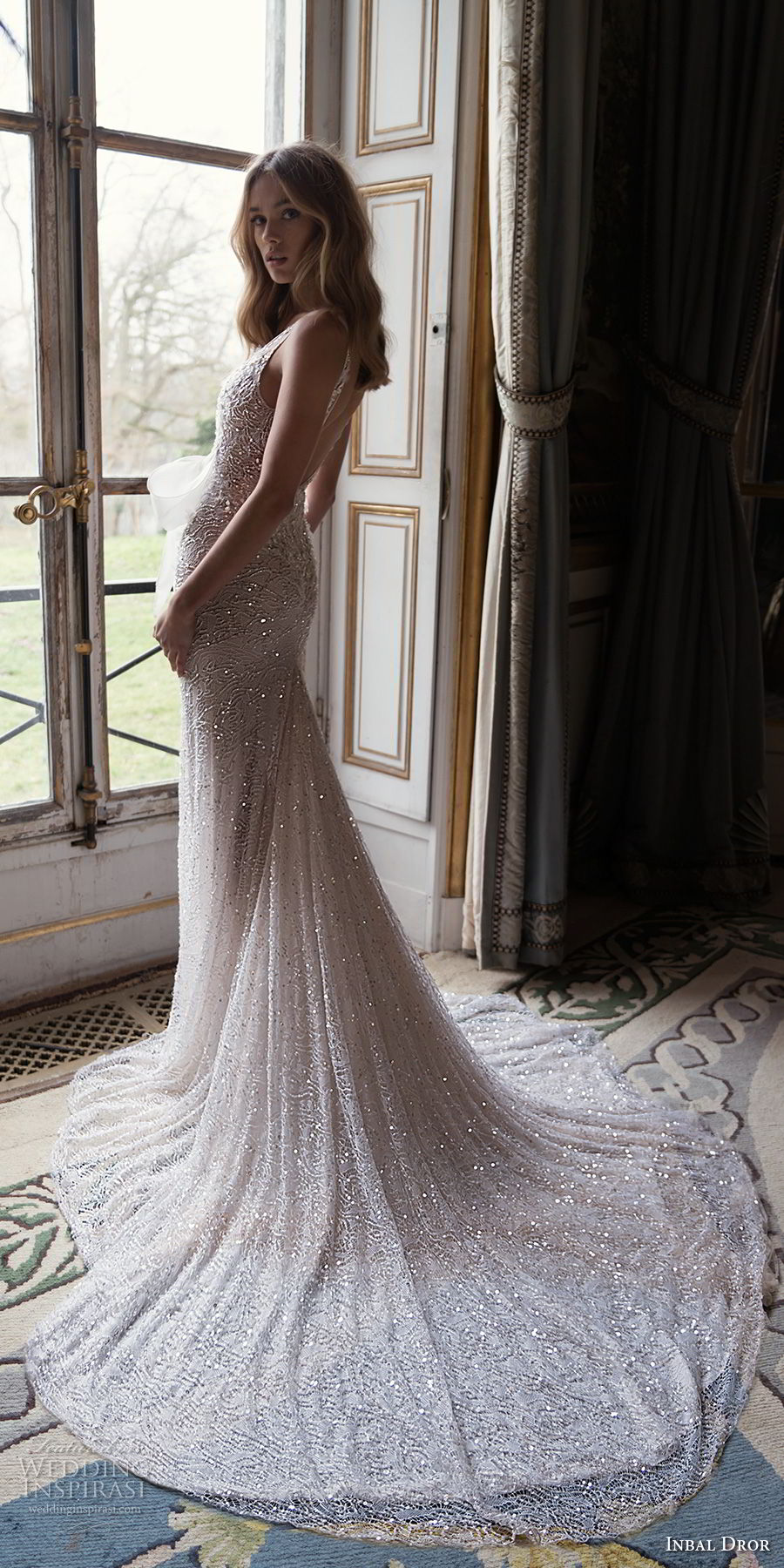 inba dror fall 2018 bridal sleeveless deep v neck full embellishment ribbon front romantic sexy fit and flare wedding dress open back chapel train (1) bv