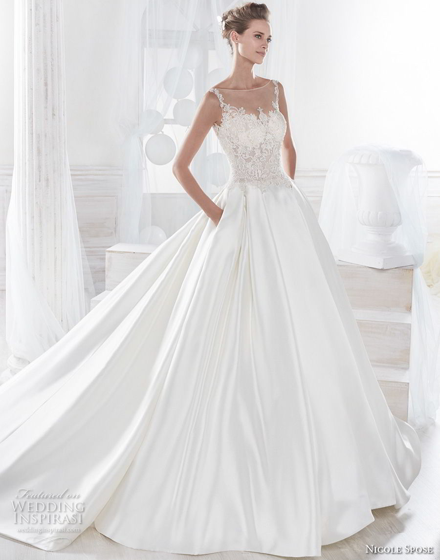 nicole spose 2018 bridal sleeveless sheer bateau sweetheart neckline heavily embellished bodice satin skirt a line wedding dress with pockets chapel train (19) mv