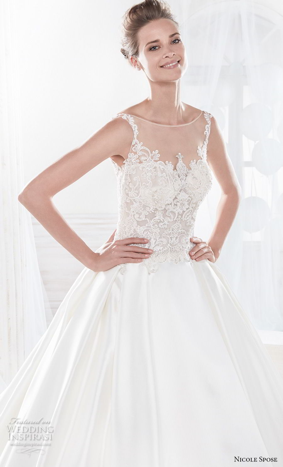 nicole spose 2018 bridal sleeveless sheer bateau sweetheart neckline heavily embellished bodice satin skirt a line wedding dress with pockets chapel train (19) zv