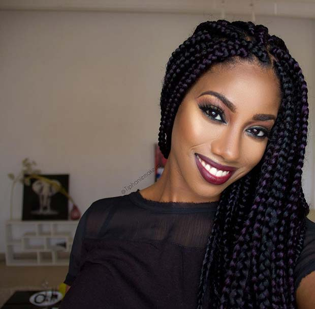 Big Box Braids with Color