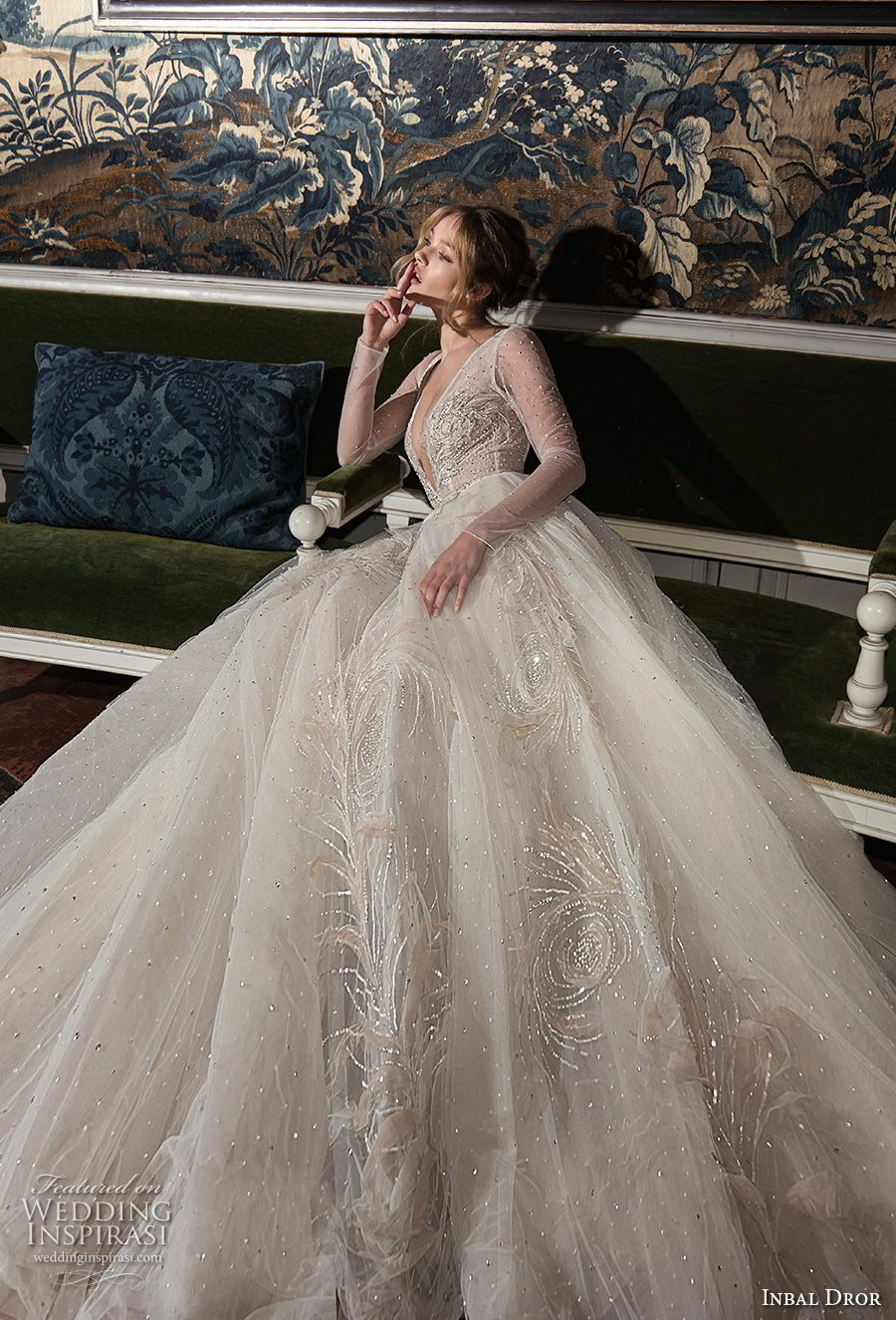 inba dror fall 2018 bridal long sleeves deep v neck heavily embellished bodice tulle skir romantic a line wedding dress open back chapel train (2) mv