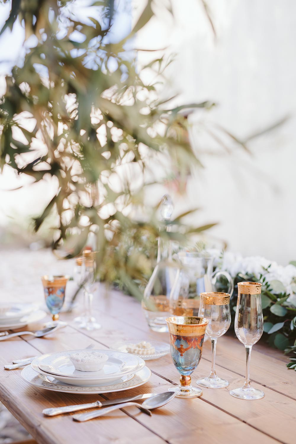 delicate tableware al fresco wedding place setting