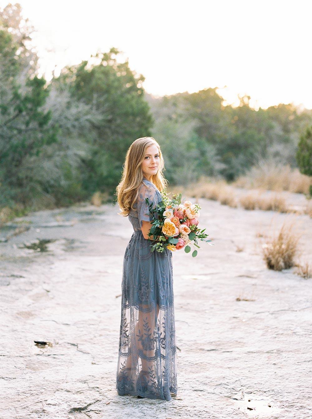 periwinkle engagement session dress with lush bouquet