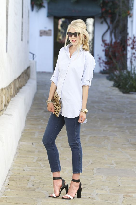 cropped grey skinnies, a comfy white button down, black and white heels and a bold clutch