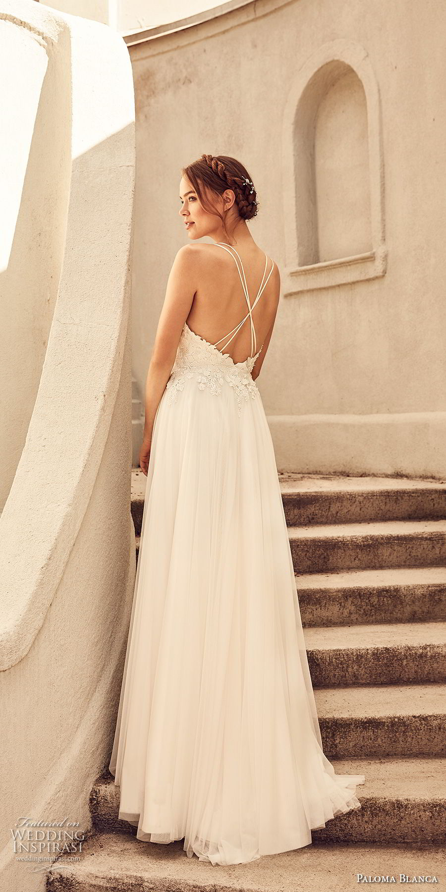 paloma blanca spring 2018 bridal sleeveless v neck heavily embellished bodice romantic soft a line wedding dress cross strap back sweep train (6) bv