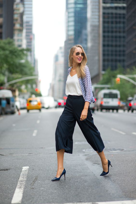 navy culottes, a white top, a blue printed shirt and blue shoes for comfort