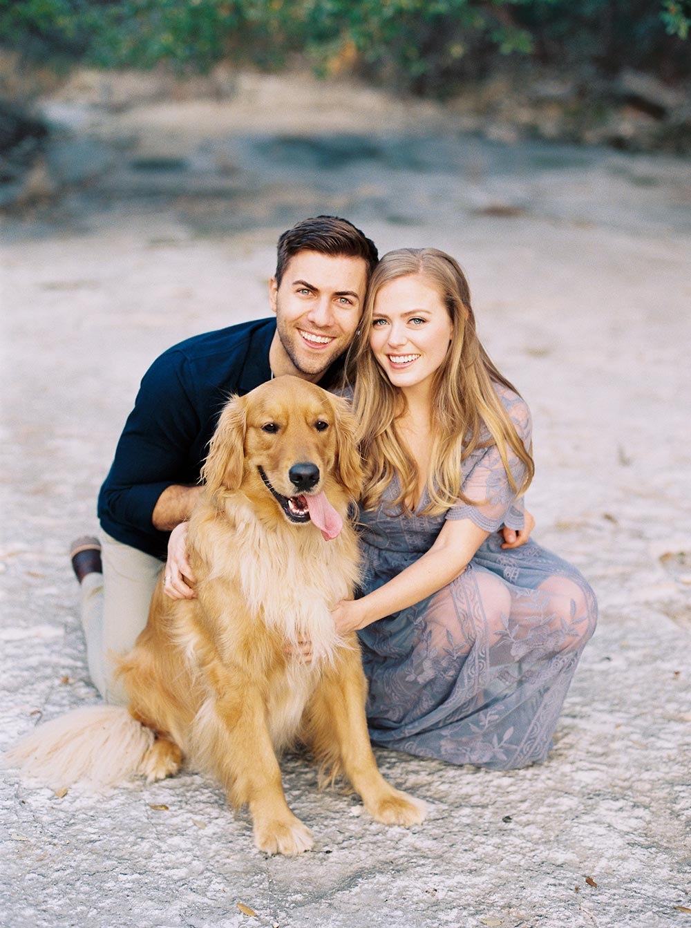 periwinkle engagement session dress and golden retriever