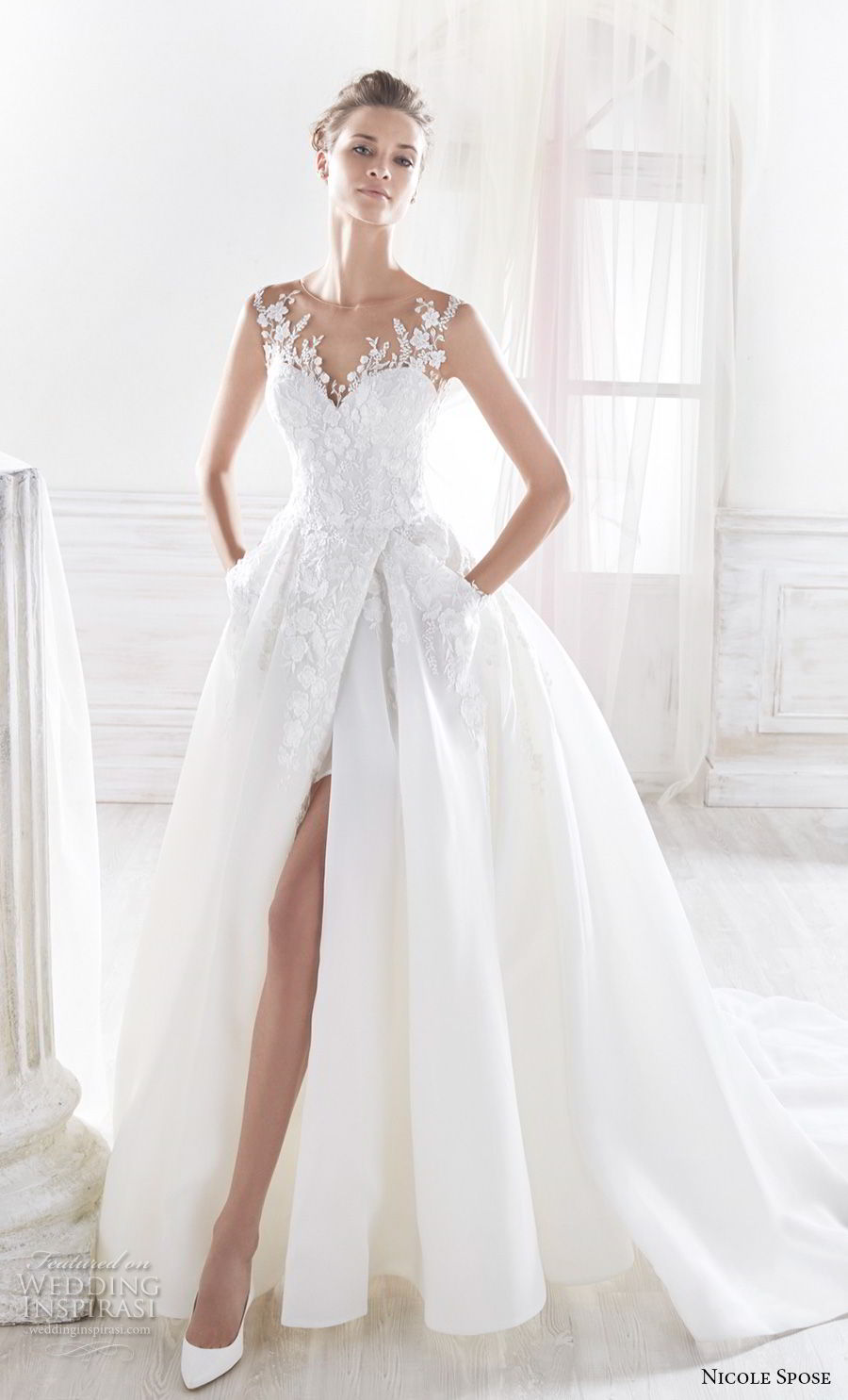 nicole spose 2018 bridal sleeveless sheer jewel sweetheart neckline heavily embellished bodice slit skirt romantic ball gown wedding dress sheer button back chapel train (14) mv