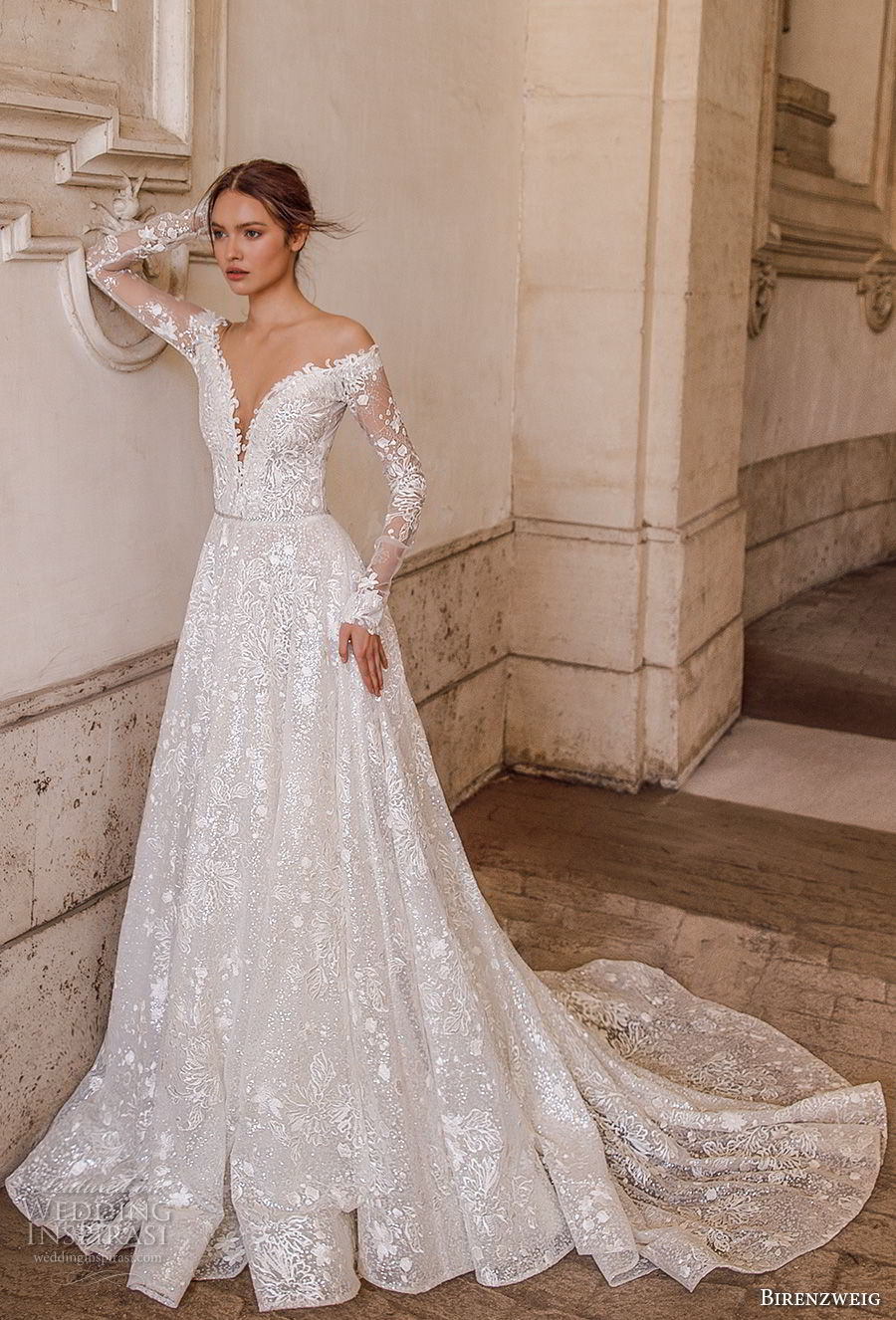 birenzweig 2018 bridal long sleeves off the shoulder deep plunging v neck full embellishment a line wedding dress sheer v back chapel train (1) mv