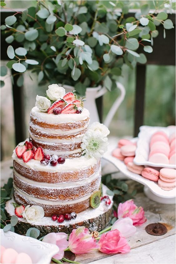 a pretty naked cake with fresh blooms, strawberries and cherries feels like summer