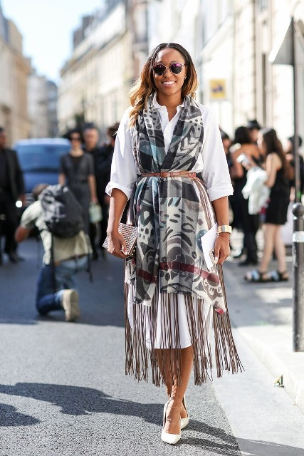 With white shirtdress, scarf, clutch and white pumps
