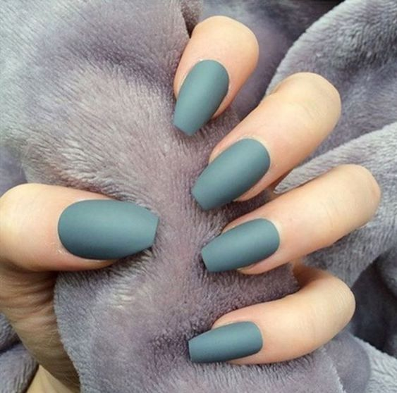 matte dark green nails are a chic idea even for every day