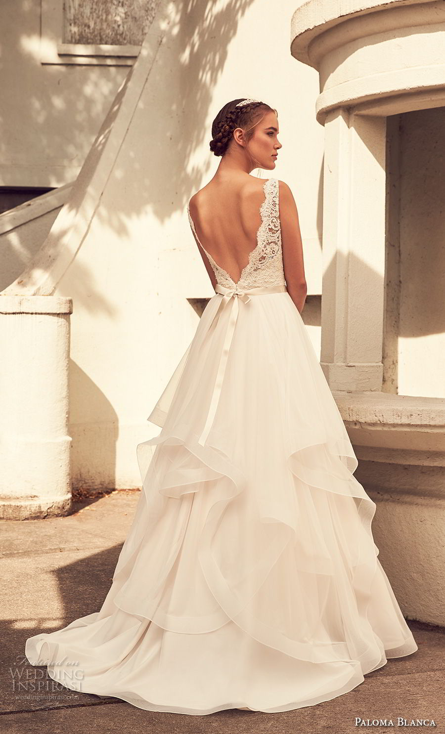 paloma blanca spring 2018 bridal sleeveless with strap scallop v neck heavily embellished bodice layered skirt romantic a line wedding dress v back sweep train (7) bv