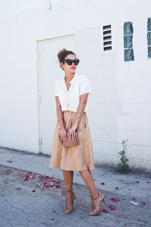 a white button down, a tan midi skirt, brown strappy heels and a brown clutch for a date