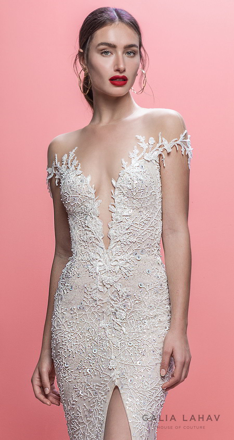 galia lahav spring 2019 bridal off the shoulder deep plugning sweetheart neckline full embellishment slit skirt fit and flare wedding dress keyhole back sweep train (marleigh) zv