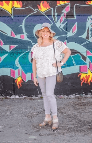 Lace-Off-the-shoulder-Top-with-Jeans 23 Ways to Style Plus Size Off-the-Shoulder Tops for Women