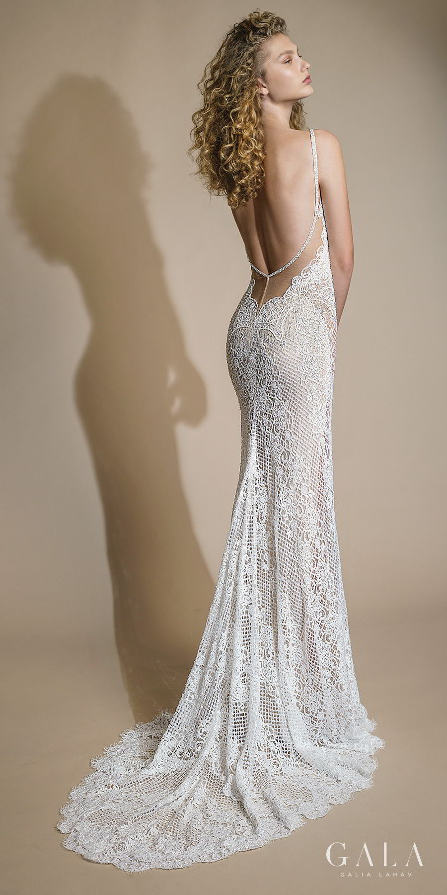 galia lahav gala 2019 bridal thin strap deep plunging v neckline full embellishment sexy elegant fit and flare sheath wedding dress low open back sweep train (105) bv