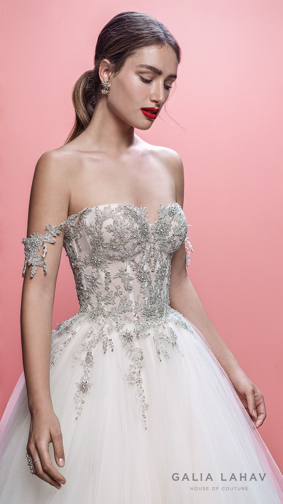 galia lahav spring 2019 bridal off the shoulder sweetheart neckline heavily embellised bodice princess romantic ball gown a line wedding dress chapel train (mia) zv