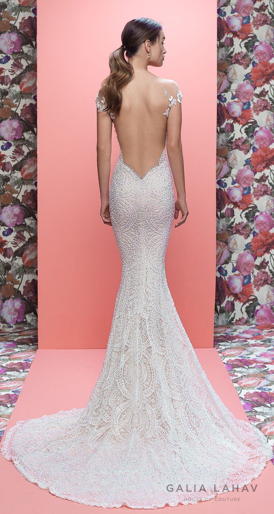 galia lahav spring 2019 bridal cap sleeves full embellishment fit and flare wedding dress low open back sweep train (harlow) bv mv