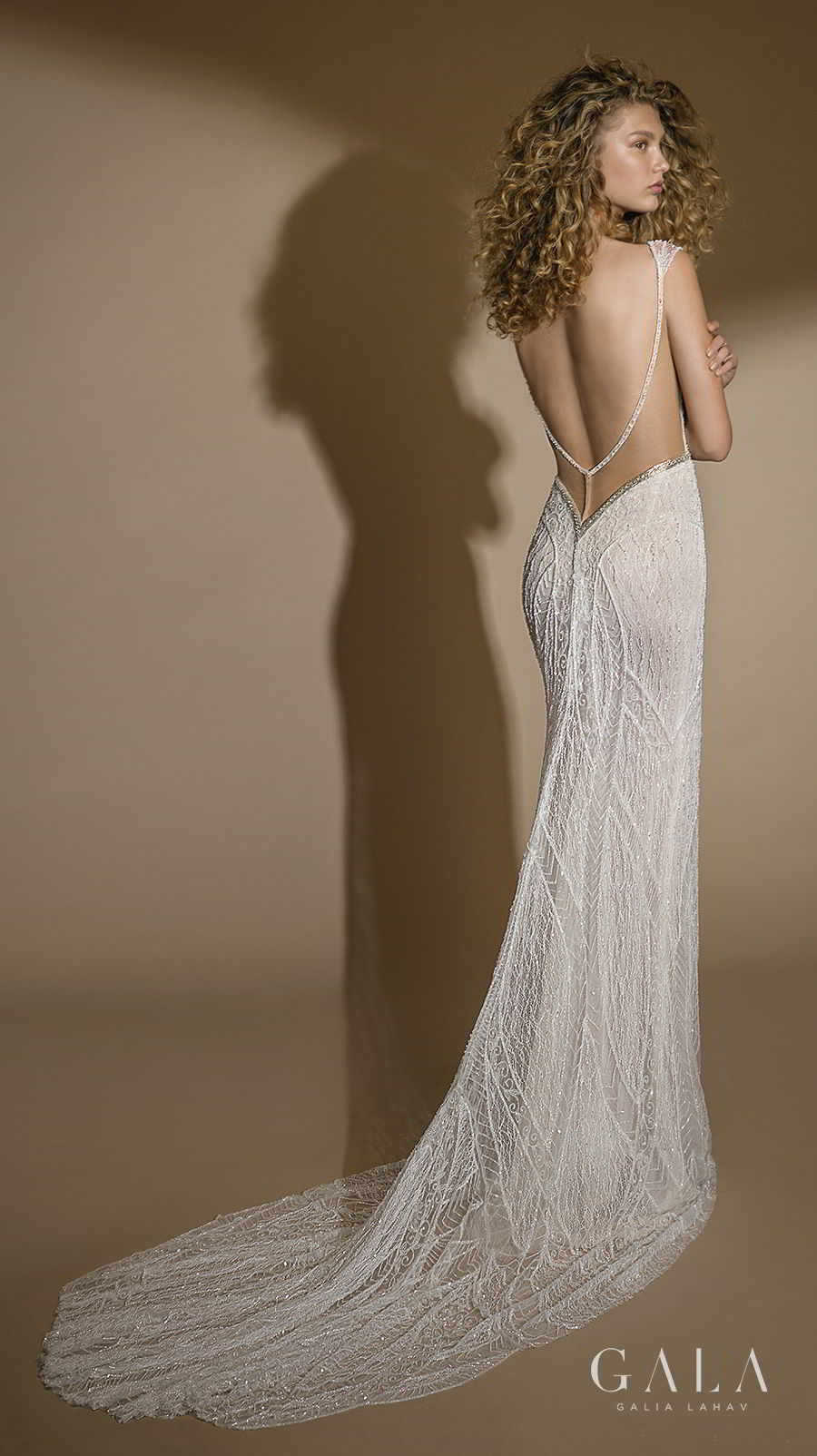 galia lahav gala 2019 bridal cap sleeves bateau deep plunging v neck full embellishment art deco elegant fit and flare sheath wedding dress open back chapel train (101) bv