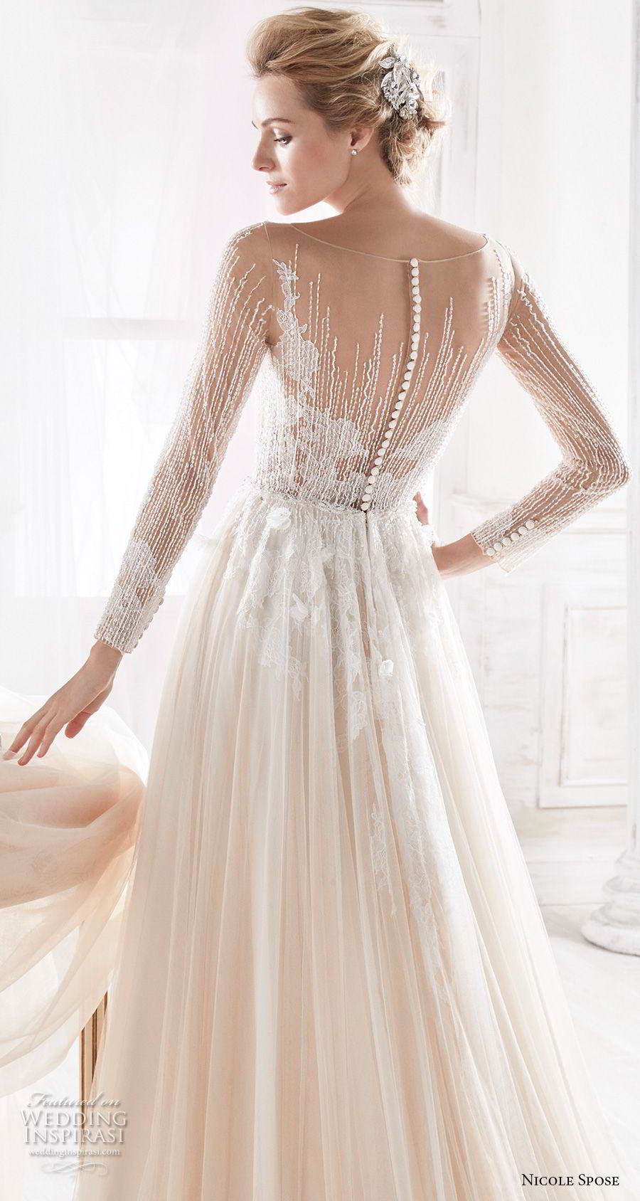 nicole spose 2018 bridal long sleeves sheer bateau sweetheart neckline heavily embellished bodice blush soft a line wedding dress sheer button back chapel train (6) bv
