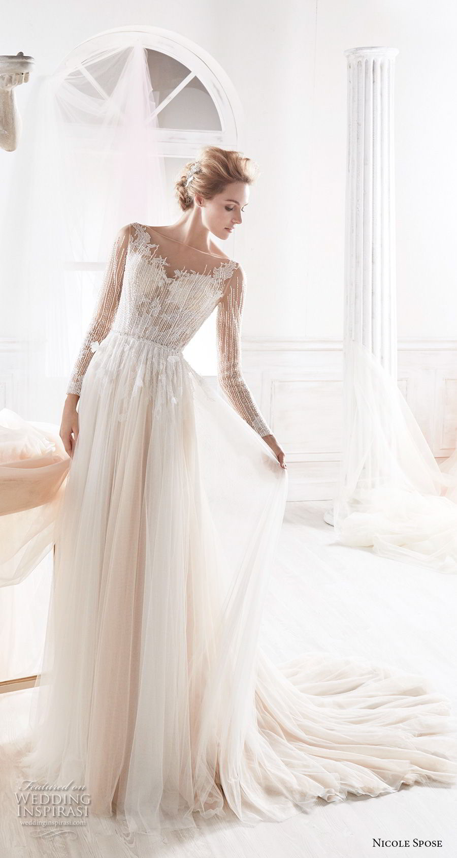 nicole spose 2018 bridal long sleeves sheer bateau sweetheart neckline heavily embellished bodice blush soft a line wedding dress sheer button back chapel train (6) mv
