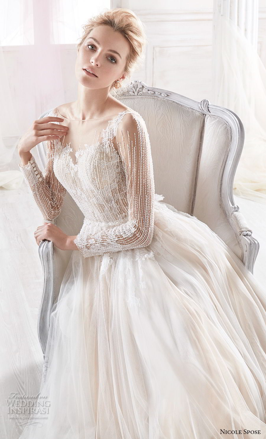 nicole spose 2018 bridal long sleeves sheer bateau sweetheart neckline heavily embellished bodice blush soft a line wedding dress sheer button back chapel train (6) zv