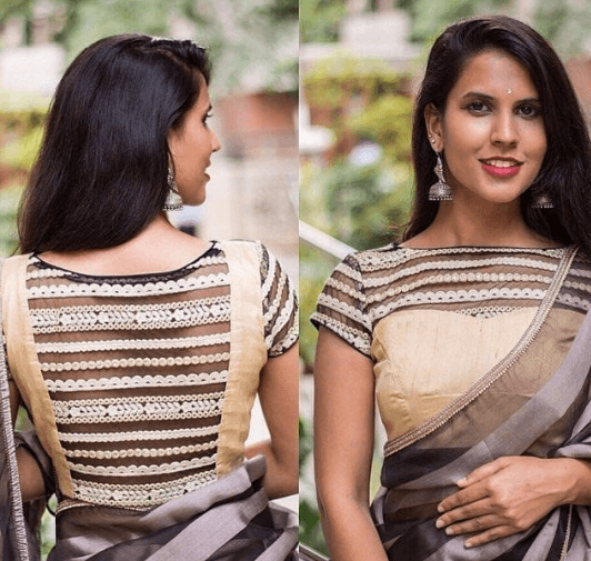 sequin-saree-blouse 30 New Saree Blouse Designs 2018 You Must Try