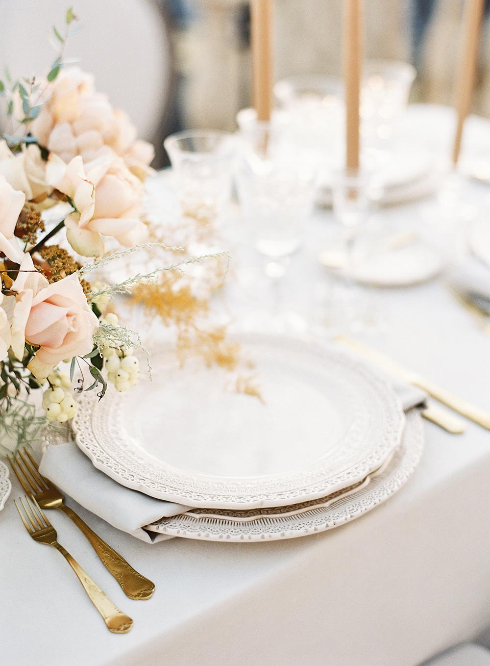 cream scalloped wedding china reception place setting