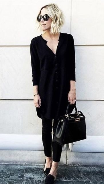 a black shirtdress worn over black skinnies, a black bag and flats to wear to work