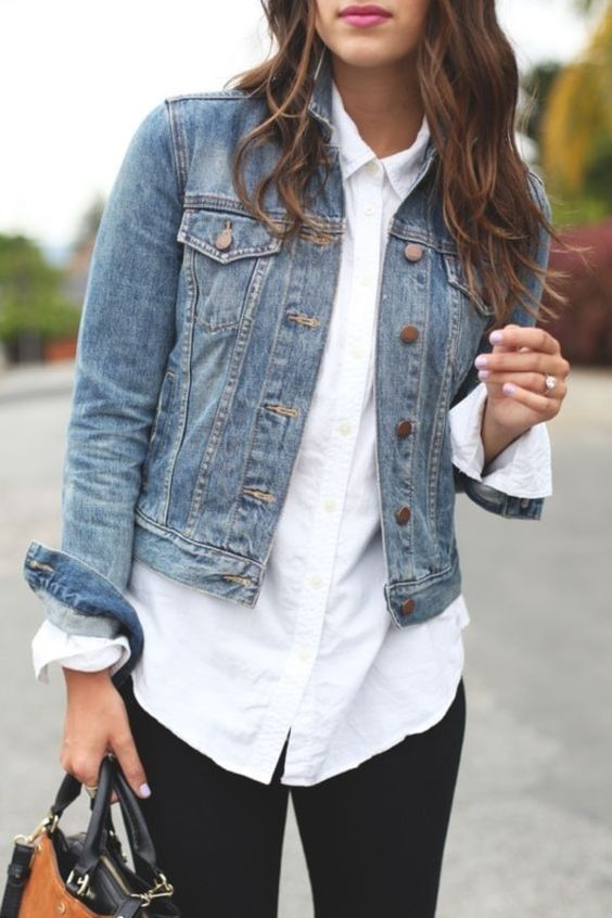 black jeans, a white shirt, a blue cropped denim jacket for a comfy and casual spring look