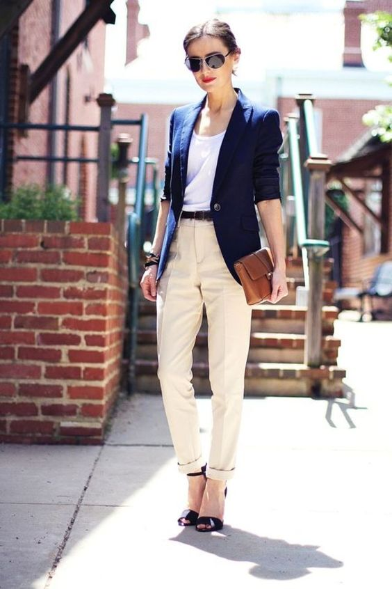 ivory pants, a white tee, a navy jacket and black shoes for a smart casual work look