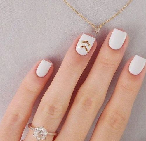 white matte nails with gold chevrons for a modern or boho bride