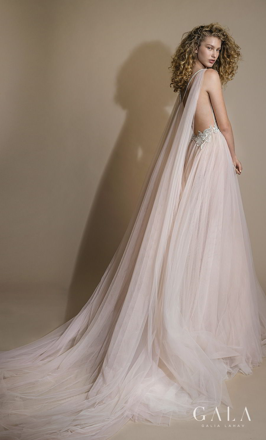 galia lahav gala 2019 bridal sleeveless with strap sweetheart neckline heavily embellished bodice bustier tulle skirt romantic blush a line wedding dress razor back chapel train (111) bv