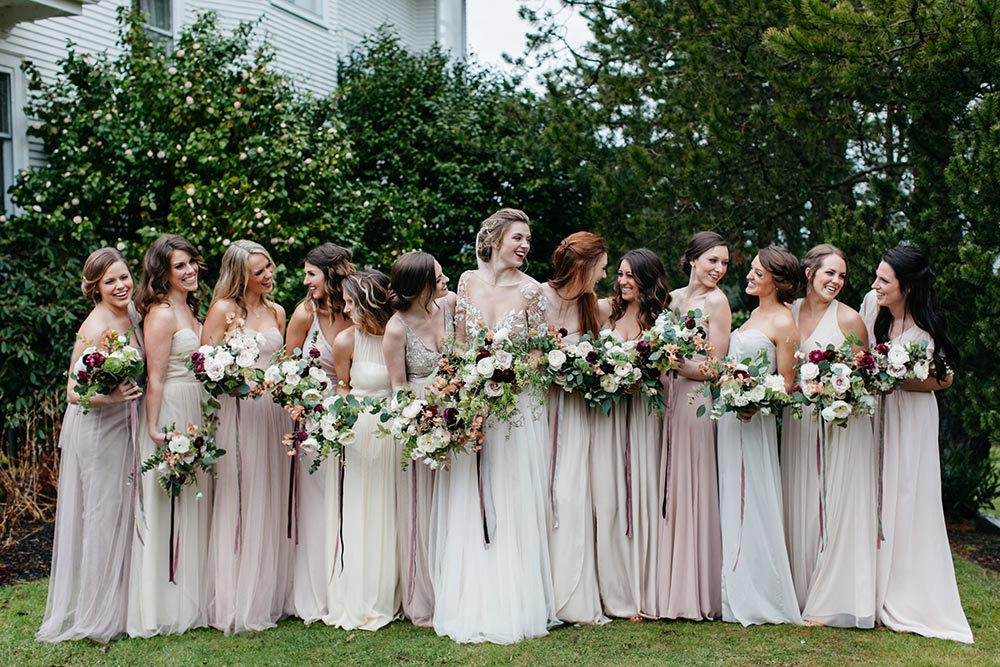blush mix and match bridesmaid dresses