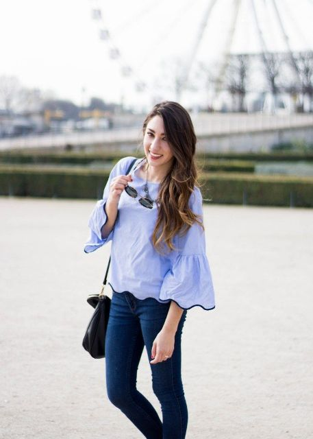 With jeans and black bag