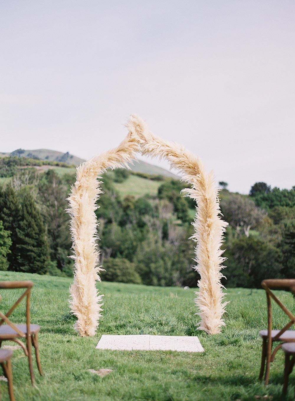pampas grass wedding ceremony arch