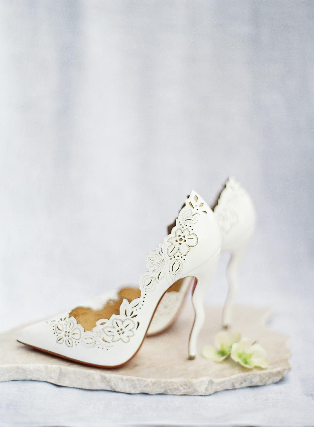 dye cut Louboutin wedding heels