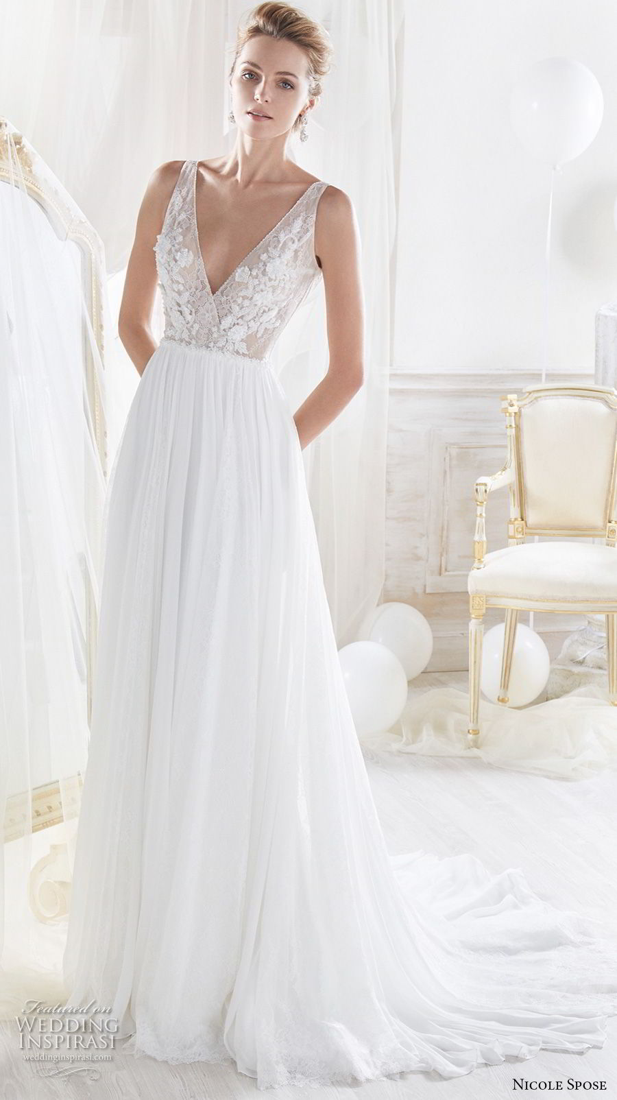 nicole spose 2018 bridal sleeveless deep v neck heavily embelliished bodice romantic soft a line wedding dress open v back chapel train (10) mv