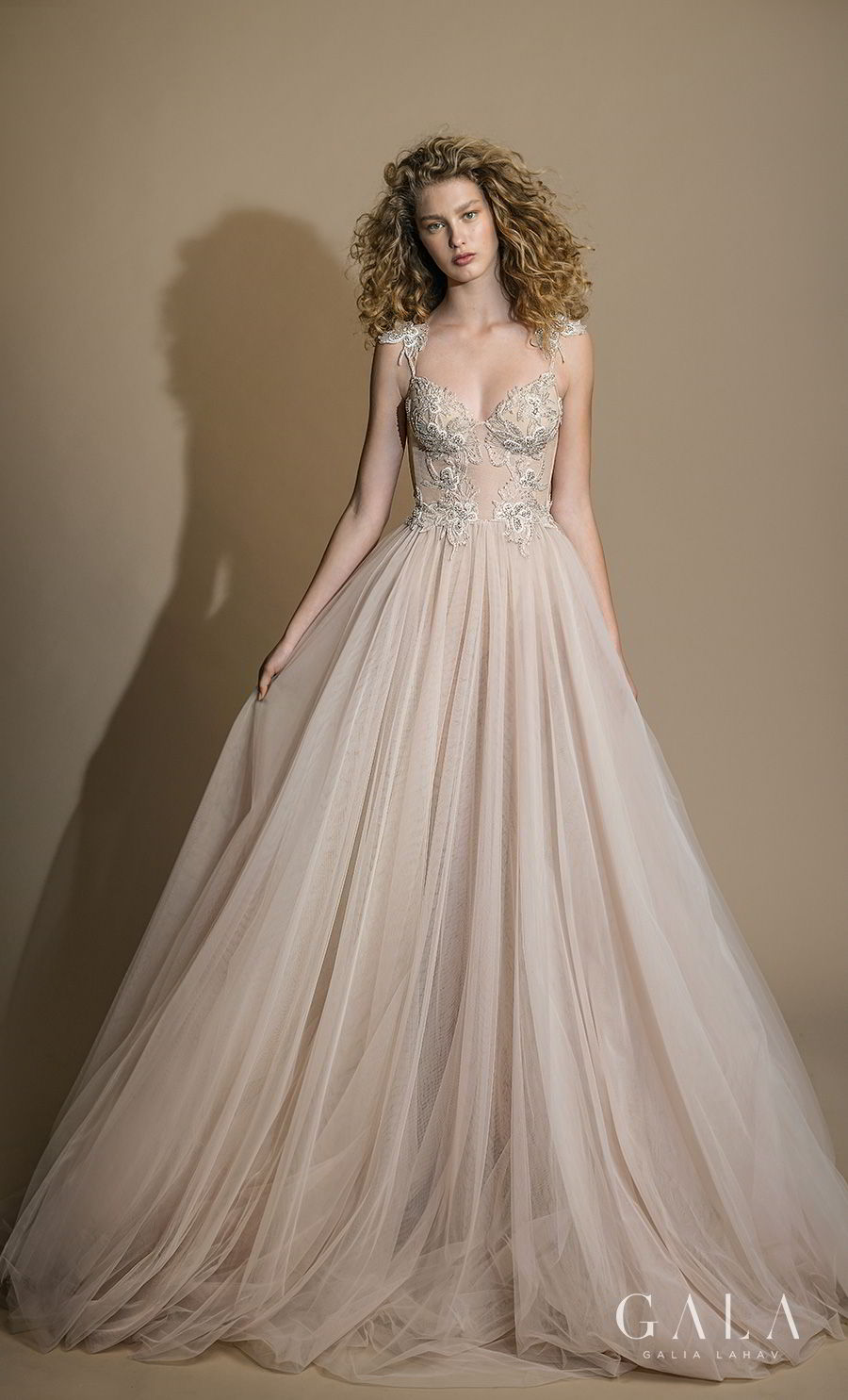 galia lahav gala 2019 bridal sleeveless with strap sweetheart neckline heavily embellished bodice bustier tulle skirt romantic blush a line wedding dress razor back chapel train (111) mv