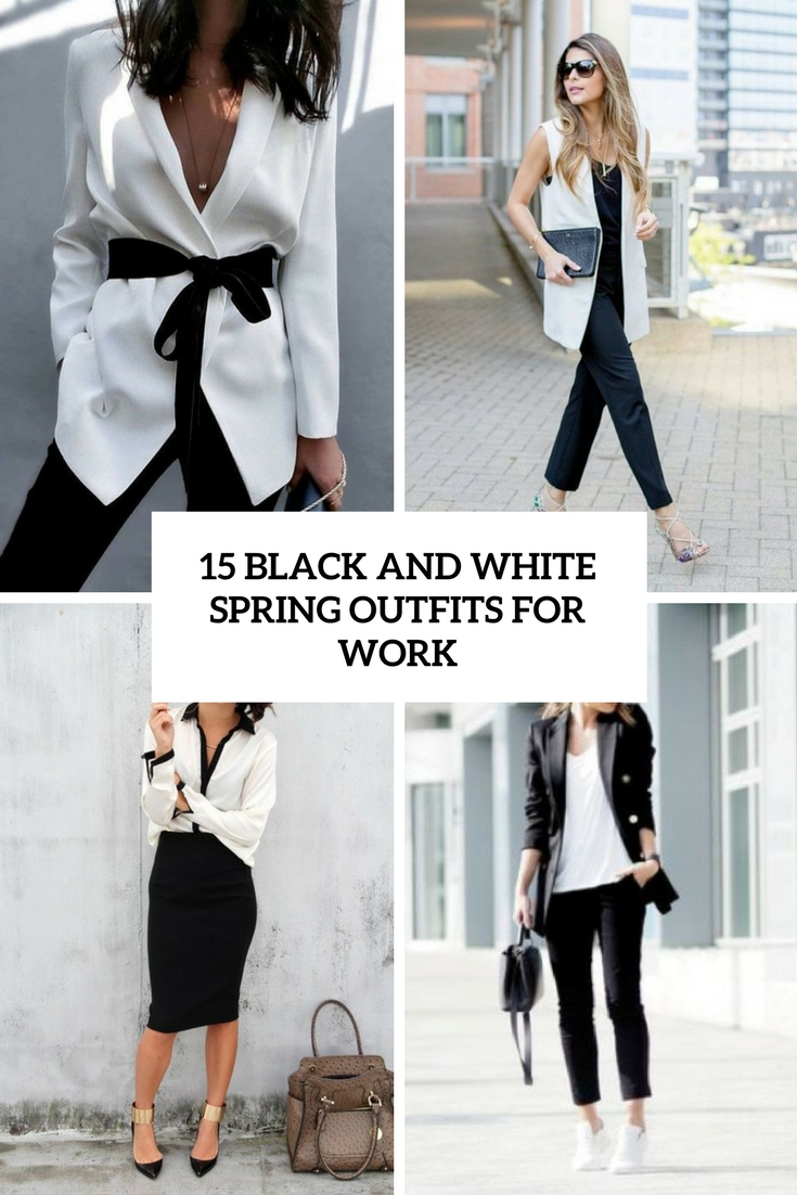 black and white spring outfits for work cover
