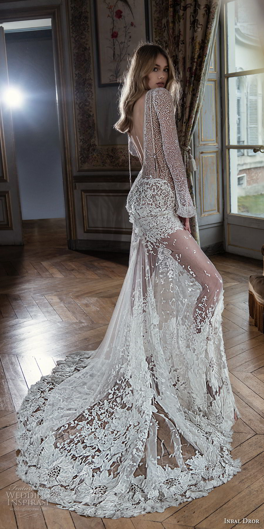 inba dror fall 2018 bridal long sleeves deep v neck full embellishment sexy modified a line wedding dress open back chapel train (4) bv