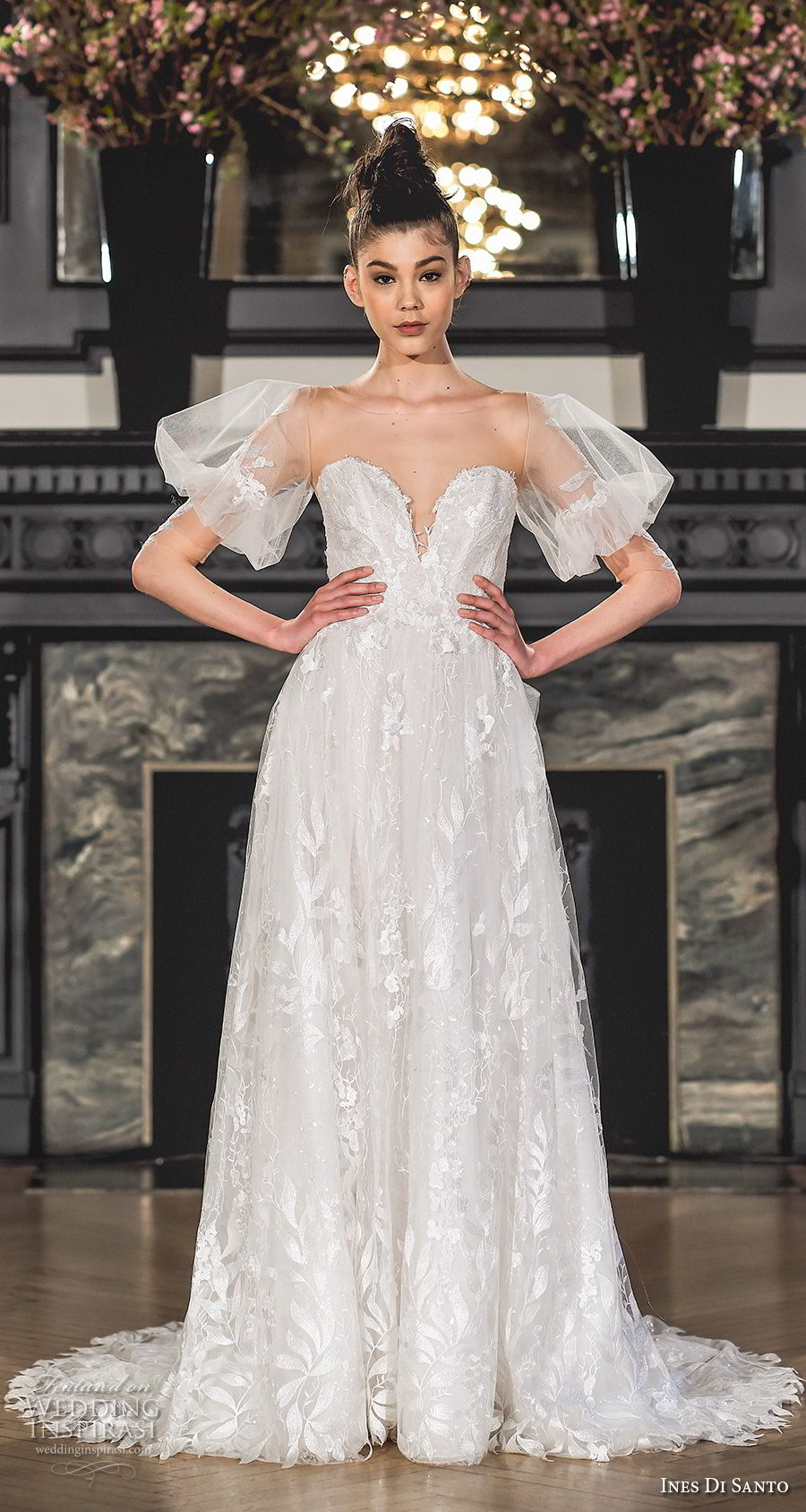 ines di santo spring 2019 bridal half balloon sleeves illusion bateau sweetheart neckline full embellishment romantic a line wedding dress sweep train (9) mv