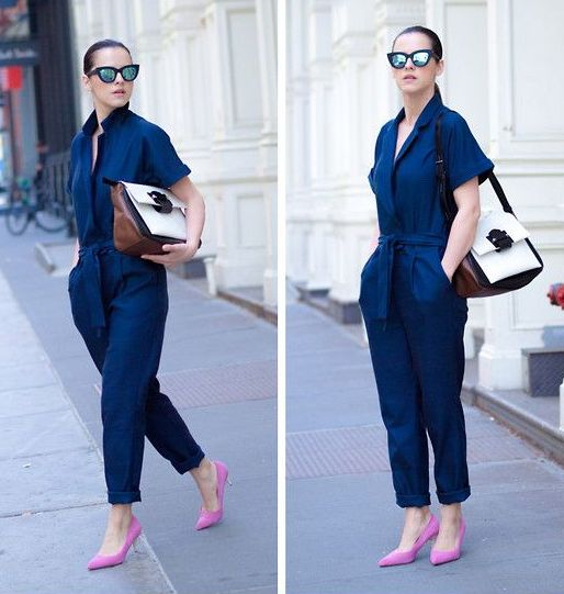 a navy jumpsuit, pink kitten heels and a bold bag for a creative job look