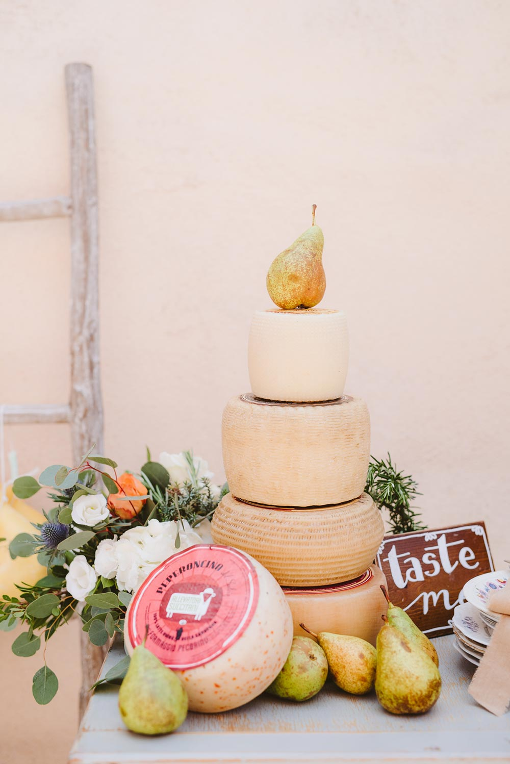 cheese wheel cake Italian destination wedding