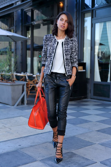 With white shirt, jacket, red bag and lace up shoes